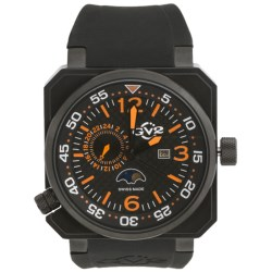 GV2 by Gevril XO Submarine Black PVD Watch - Rubber Strap