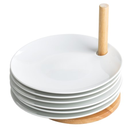 BIA Cordon Bleu Appetizer Plates with Stand - Set of 6, Porcelain