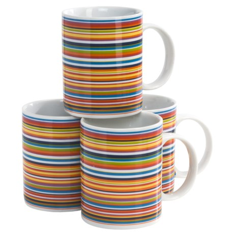 BIA Cordon Bleu Multi-Striped Mug Set in Gift Box - Set of 4, Porcelain