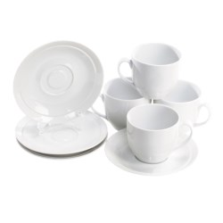 BIA Cordon Bleu Sweep Coupe Cups and Saucers - Set of 4, Porcelain