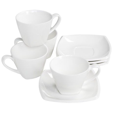 BIA Cordon Bleu Anna Soft Square Cups and Saucers - Set of 4, Porcelain