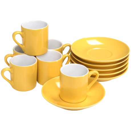 BIA Cordon Bleu Demi Espresso Cups and Saucers - Set of 6, Porcelain