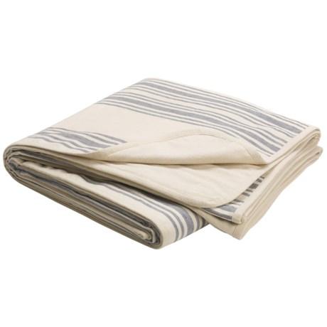 Coyuchi Striped Linen Blanket - King, Flannel Backing