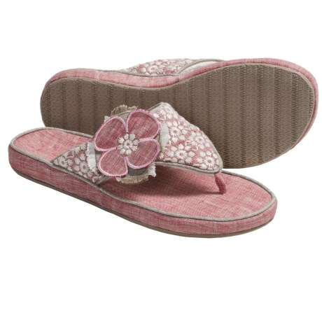 Acorn Grace Thong Slippers - Fleece Lining (For Women)