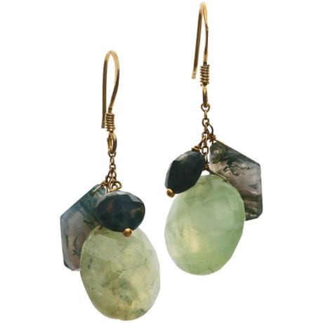 Stanley Creations Multi-Stone Drop Earrings - Prehnite, Moss Agate