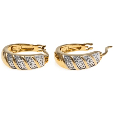 Stanley Creations 14K Gold-Plated Hoop Earrings - Diamond Accents