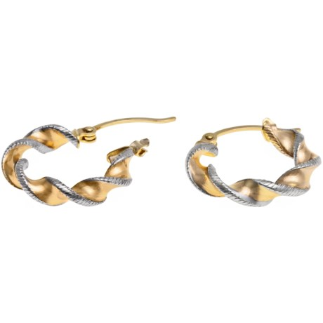 Stanley Creations Twisted Laser Hoop Earrings - Two-Tone 14K Gold