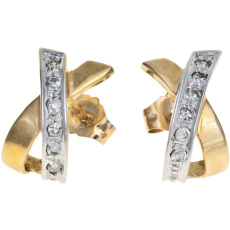 Stanley Creations Diamond Accent Earrings - 14K Yellow and White Gold