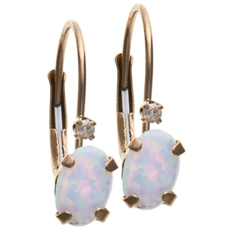 Stanley Creations Oval Earrings - 14K Gold, Diamond, Opal