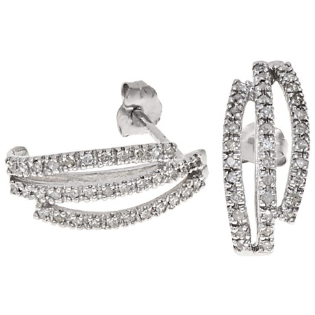 Stanley Creations 10K White Gold Earrings - Diamond Accents