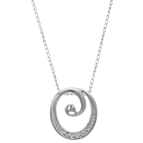 Stanley Creations 10K White Gold Curling Circle Necklace - Diamond Accents