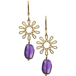 Stanley Creations 14K Gold-Plated Flower Earrings - Amethyst