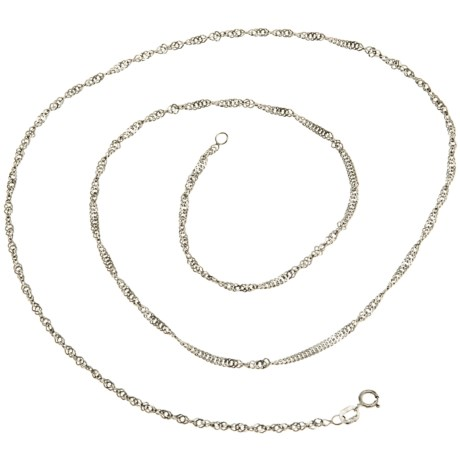 Stanley Creations Singapore Chain Necklace- 14K White Gold