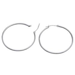 "Stanley Creations Polished Hoop Earrings - 10K White Gold, 1-3/8"""