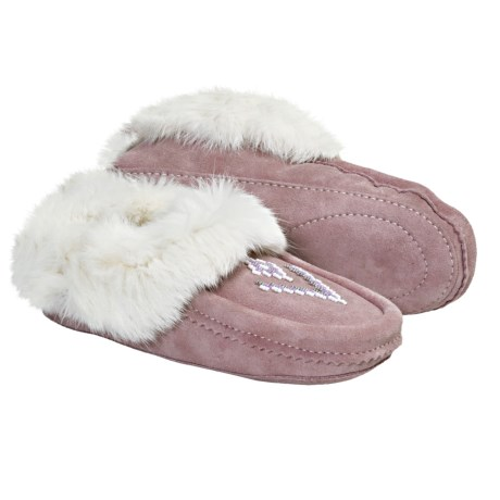 Manitobah Mukluks Suede Moccasin Slippers - Shearling-Lined, Rabbit Fur Trim (For Women)