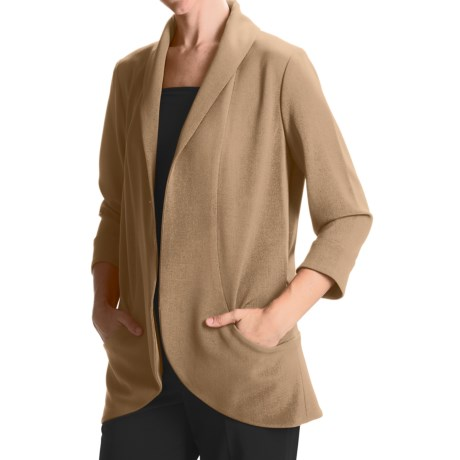 Anthracite Shawl Collar Cocoon Jacket (For Women)