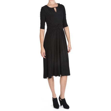 Ellen Tracy Ruched Keyhole Jersey Dress - 3/4 Sleeve (For Women)