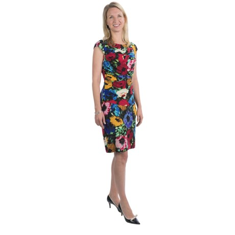 Ellen Tracy Poppy Print Jersey Dress - Sleeveless (For Women)