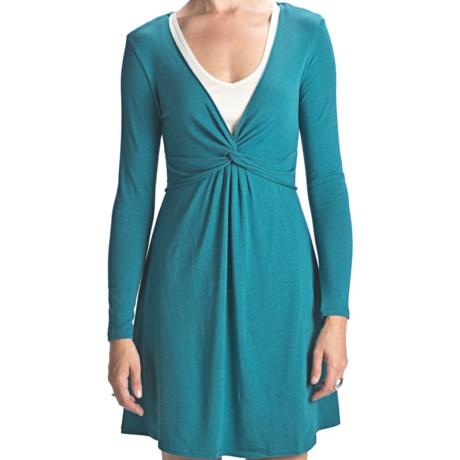 Blue Canoe Rayon-Organic Cotton Dress - Twist V-Neck, Long Sleeve (For Women)