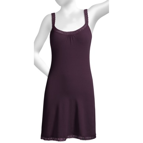Blue Canoe Lace Trim Chemise - Rayon-Organic Cotton, Built-In Shelf Bra (For Women)