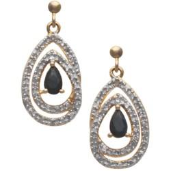 Prime Art Double Teardrop Sapphire Earrings