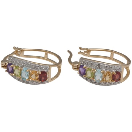 Prime Art 18K Gold-Plated Hoop Earrings - Semi-Precious Stones