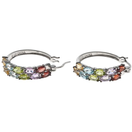 Prime Art Multi-Gemstone Hoop Earrings