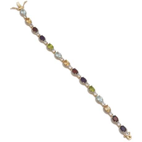 "Prime Art Multicolored Oval Stone Bracelet - 7.25"""