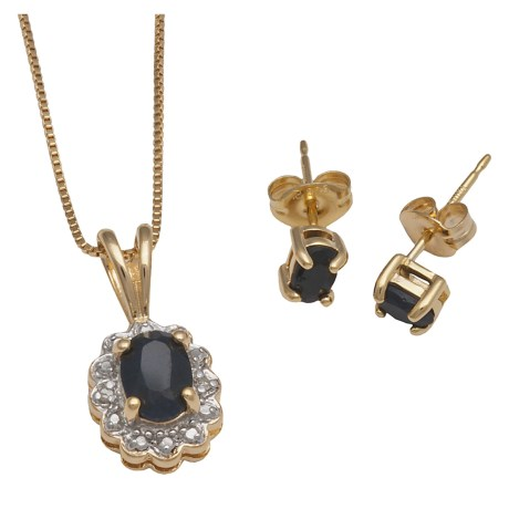 "Prime Art Sapphire 18"" Necklace and Earring Set - 18K Gold Plated"