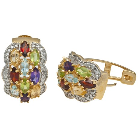Prime Art Semi-Precious Stone Hoop Earrings - Two-Tone