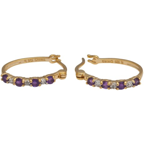Prime Art African Amethyst Hoop Earrings - Two Tone
