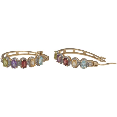 Prime Art 18K Gold-Plated Hoop Earrings - Two-Tone