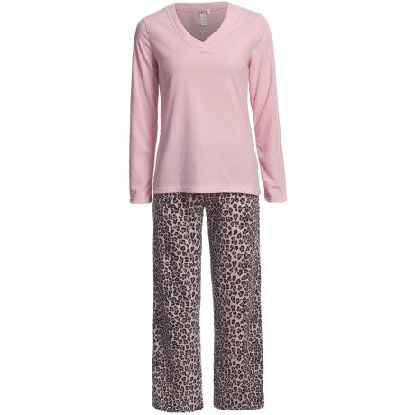 St Eve St. Eve Microfleece Pajamas - V-Neck, Long Sleeve (For Women)