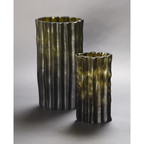 Tozai Handmade Shades of Green Vases - Set of 2, Glass