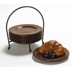 "Signature Housewares Sorrento 6"" Plate Set with Caddy - 6-Piece"