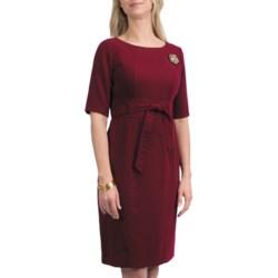 Leslie Fay Crepe Tie Waist Dress - Elbow Sleeve (For Women)
