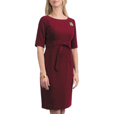 Leslie Fay Crepe Tie Waist Dress - Elbow Sleeve (For Women)