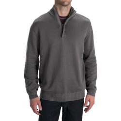 Worn Cotton Sweater - Zip Neck, Elbow Patches (For Men)