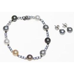 Joia de Majorca Multicolor Organic Pearl Bracelet and Earring Set