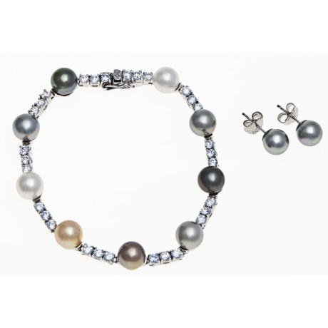 Joia de Majorca Multicolor Organic Pearl Bracelet and Earring Set