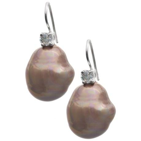 Joia de Majorca 14x16 Baroque Pearl and CZ Earrings