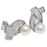 Joia de Majorca 8mm Pearl and Cubic Zirconia Earrings