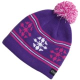 Snow Dragons Knit Beanie Hat with Pom - Fleece Lining (For Girls)