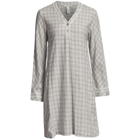Oscar de la Renta Modern Comfort Flannel Night Shirt - Long Sleeve (For Women)