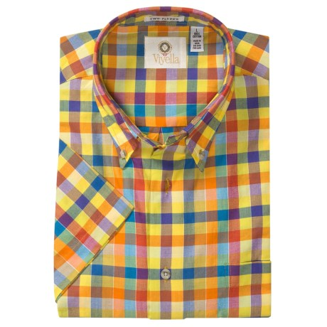 Viyella Cotton Check Sport Shirt - Button-Down, Short Sleeve (For Men)