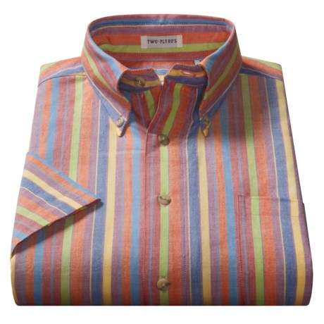 Viyella Cotton Stripe Shirt - Button-Down Collar, Short Sleeve (For Men)