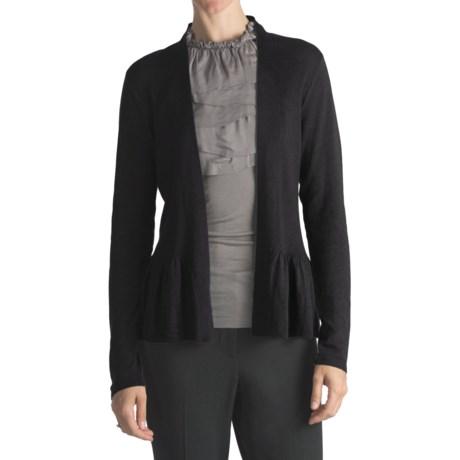 August Silk Flyaway Peplum Cardigan Sweater - Cotton-Modal (For Women)