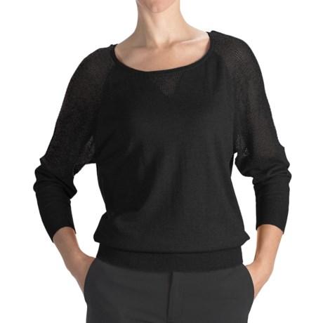 August Silk Cotton-Modal Boat Neck Sweater - Mesh Shoulders (For Women)