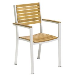 Oxford Garden Travira Arm Chairs - Set of 4, Teak Wood