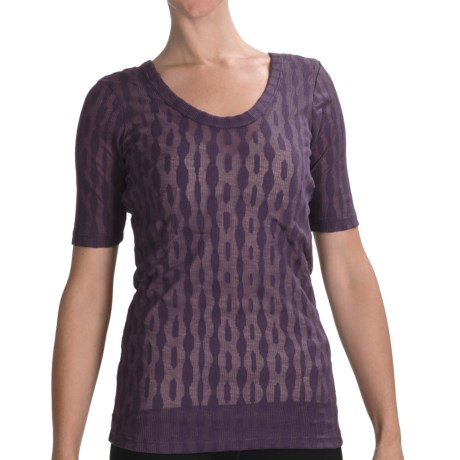 lucy Meditation Burnout T-Shirt - Scoop Neck, Short Sleeve (For Women)